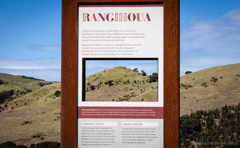 Rangihoua Pa site through information board
