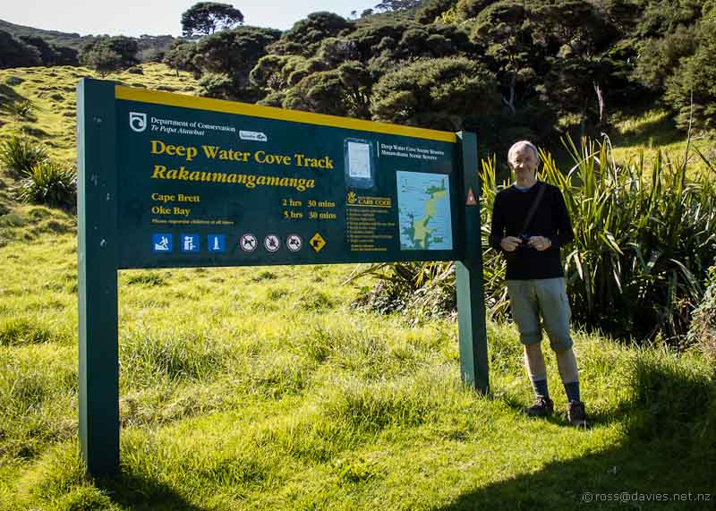 Start of the walk to Cape Brett at Deep Water Cove