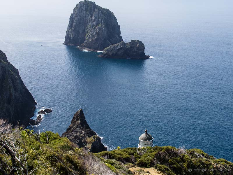 Cape Brett lighthouse from the track above