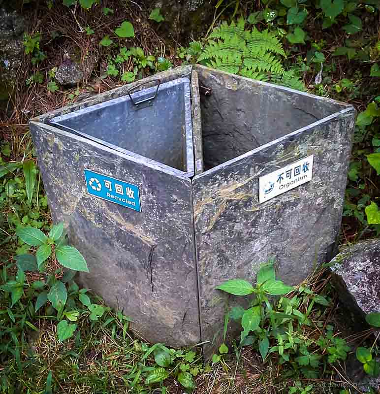 Litter bins Mt Cangshan Dali