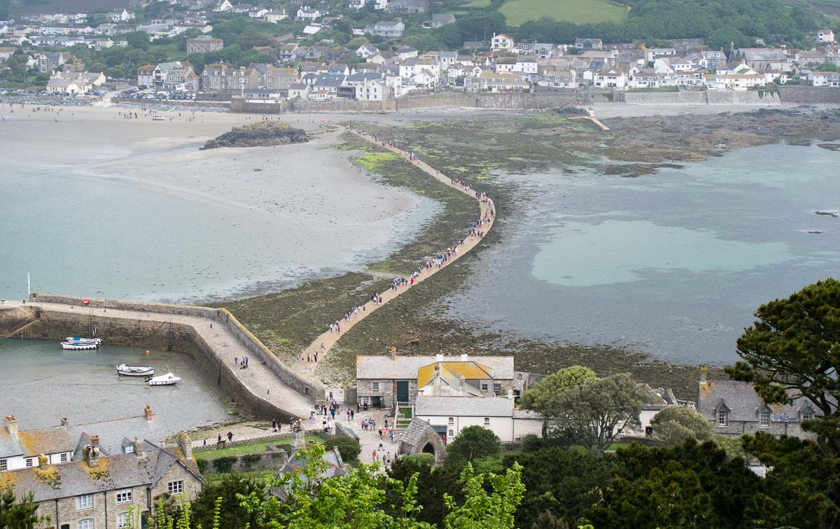 Marazion town across causeway from St Michael's Mount