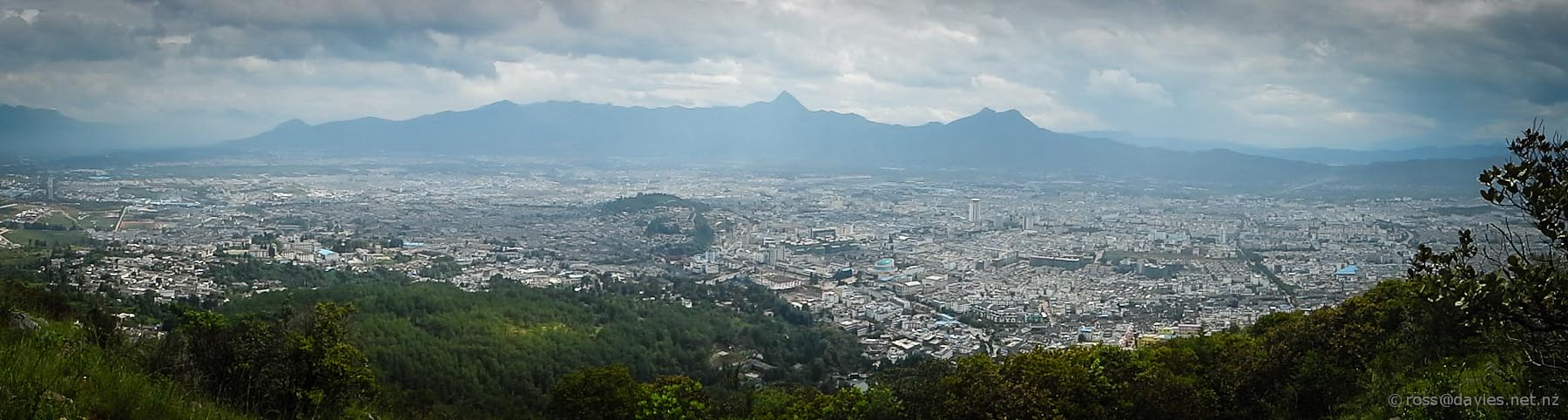 Lijiang Old Town and city from Elephant Hill
