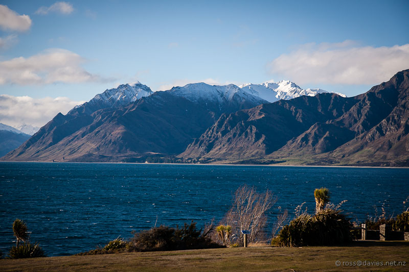 Lake Hawea and mountains - late afternoon