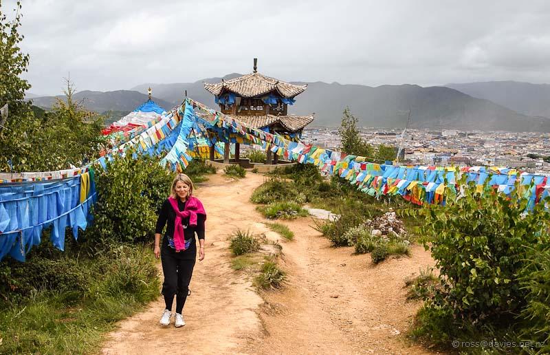 Wyn walking up to Baiji Temple Shangrila