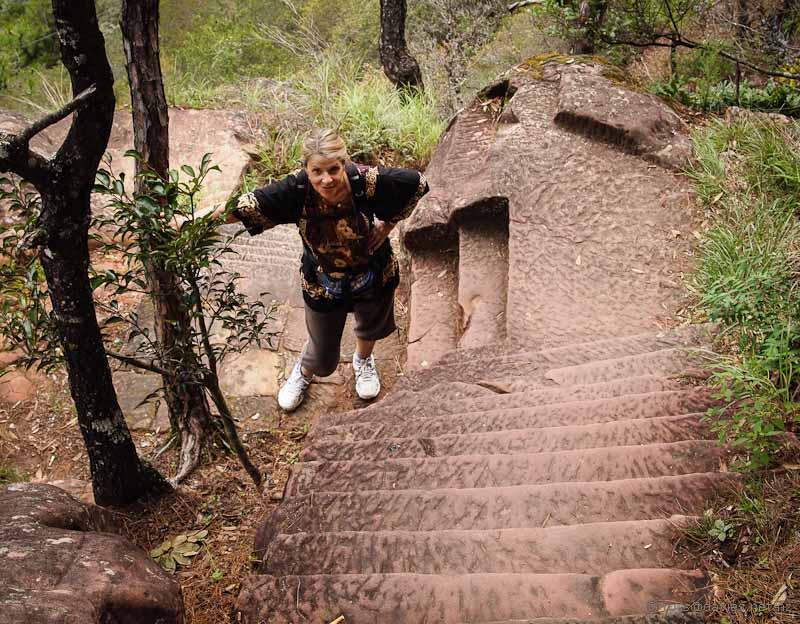 Steep steps Shibao Mountain
