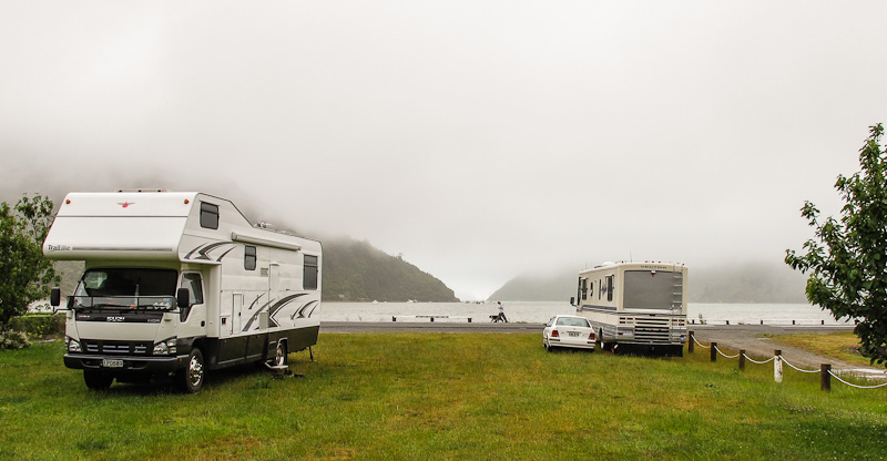 Parked up at Okiwi Bay