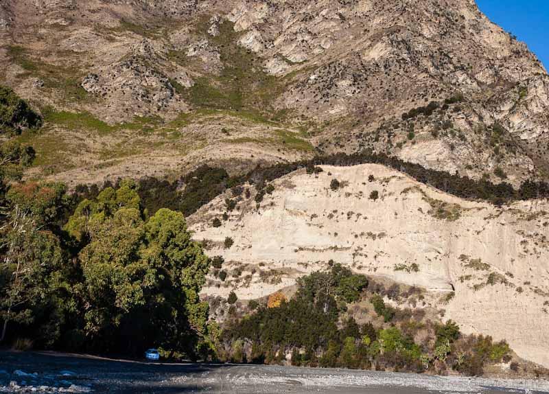 Bluffs above Timaru Creek