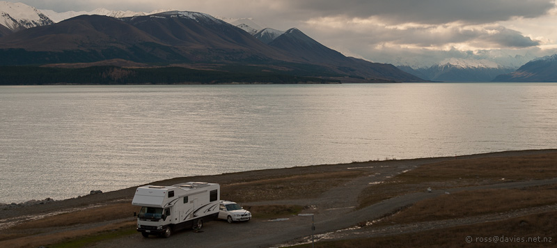 Suzi motorhome parked up at Lake Pukaki