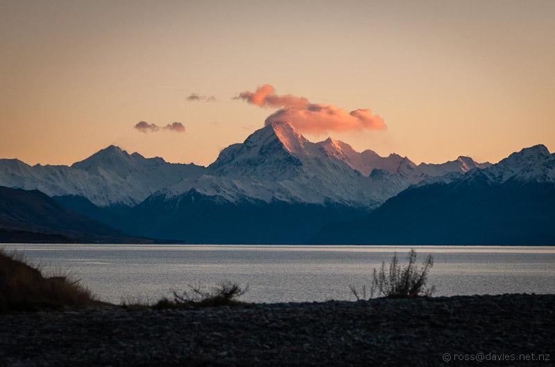 Sunrise on Mt Cook at the head of Lake Pukaki