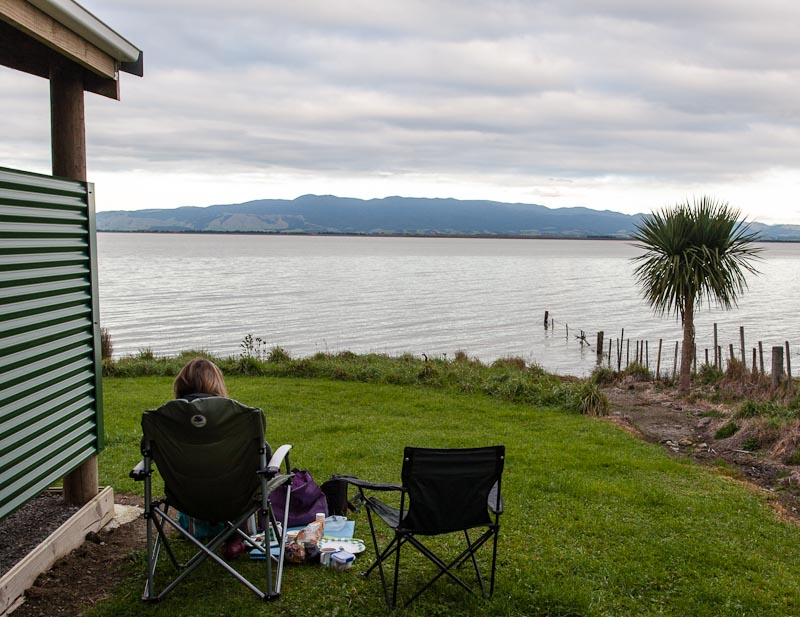 Lunch beside Lake Wairarapa