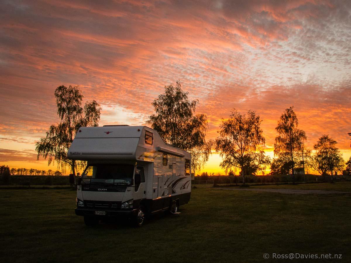 Sunrise and Suzi motorhome at Ealing