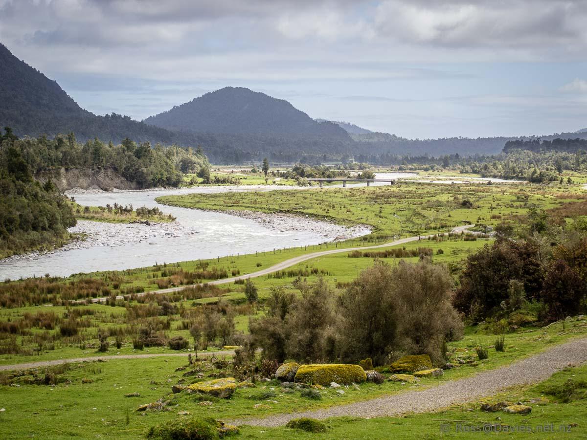 Looking back down the Arahura River