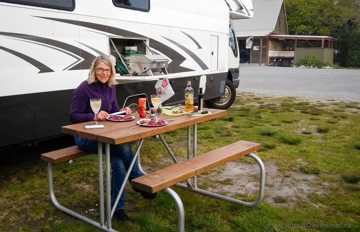 BBQ tea at Okarito Camping ground