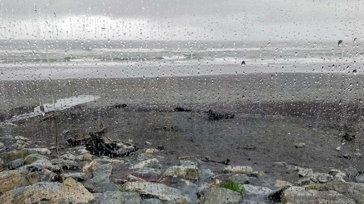 Rain at Hokitika Beach