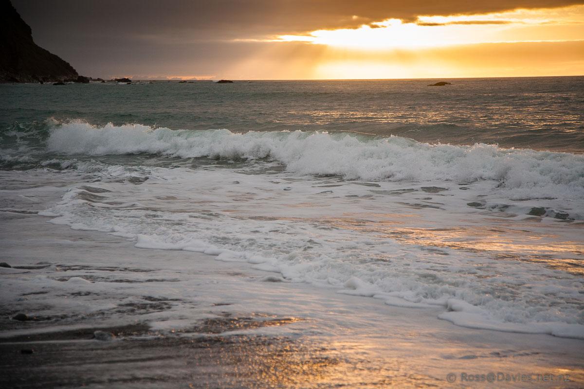 Setting sun - Okarito Beach