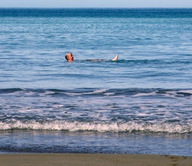 Ross swimming in Whites Bay in April