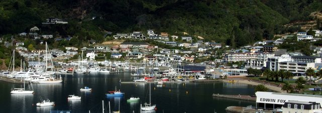 Picton from the lookout on Queen Charlotte Drive