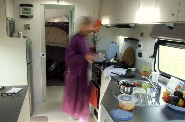 Wyn in Suzi's kitchen