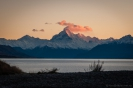 Sunrise on Mt Cook at the head of Lake Pukaki