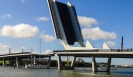 Whangarei bascule bridge over Hatea river - opening to allow yacht to pass.